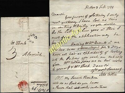 1799 BELFORD posted letter John Wilkie at HETTON to Adams of Alnwick