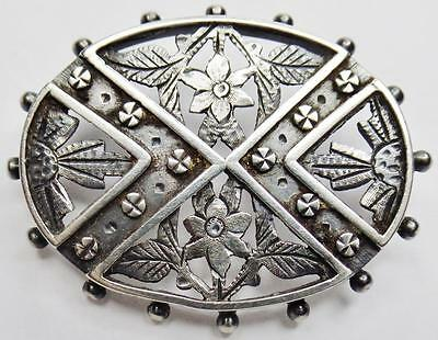 Fine Antique Engraved Sterling Forget Me Not Victorian Mourning Brooch Pin