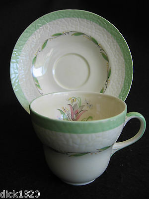 ART DECO NEW HALL POTTERY PATTERN #1092 CUP & SAUCER DUO  c.30's