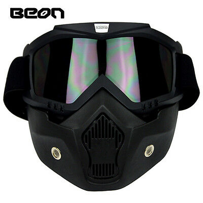 BEON Motorcycle Mask Antifogging Goggles Double-Deck Off-Road Detachable Tawny