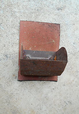 Elevator Grain Bucket Vintage Rustic Metal on Conveyor Belt Rusty Brown