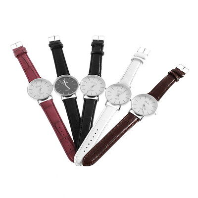 Fashion Men Women Simple Style Big 3 Hands PU Leather Quartz Wrist Watch GK