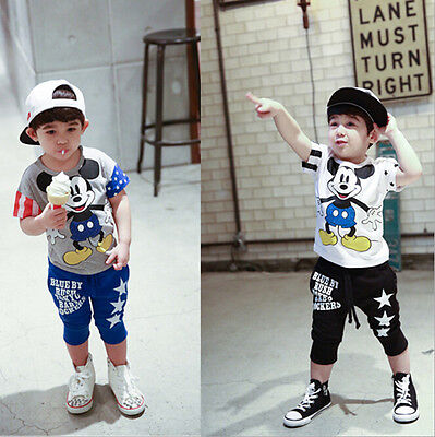 New Baby Kids Boy Girls Clothes Short Sleeve Mickey Mouse Tee Tops Shirt T-Shirt