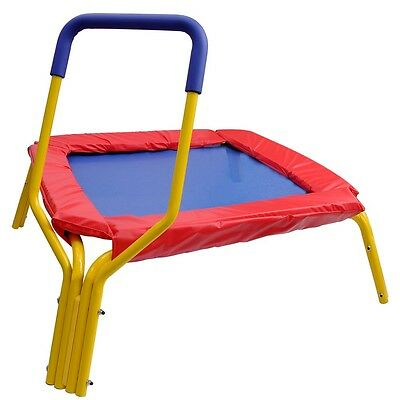 """Red 34"""" Square Jumping Trampoline w/Handle Bar & Safety Pad for Kids Xmas Gift"""
