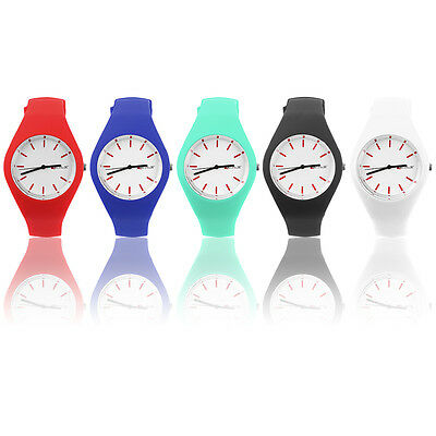 Fashion Men Women Silicon Strap Round Dial Sport Leisure Wrist Watch Jewelry GA