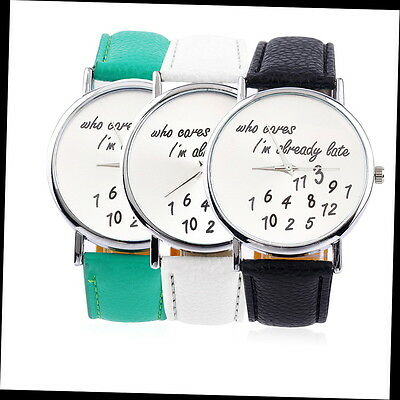 New Fashion Luxury Women Men Wrist Watches PU Leather Band Funny Cute GA