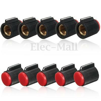 10Pcs Control Rotary Knob Plastic+ Metal For 6mm Dia Knurled Shaft Potentiometer