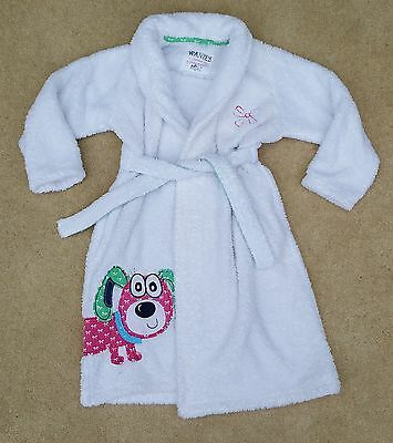 MARKS & SPENCER Girls Puppy Bathrobe Dessing Gown Polyester Age 6-7 Years