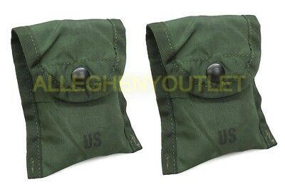 Lot of 2 US Military First Aid / Compass Pouch Alice Clip OD Army USMC MINT