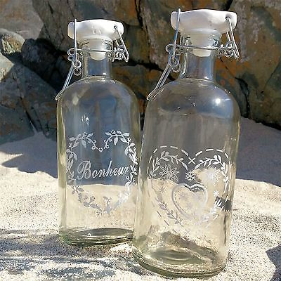 2 Vintage French GLASS STORAGE BOTTLES Bathroom Bedroom Accessories Chic Shabby
