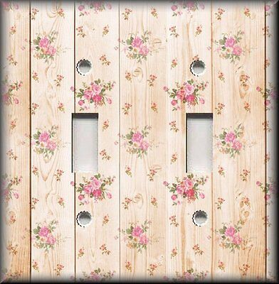 Metal Light Switch Plate Cover Shabby Chic Decor Rustic Pink Roses - Wood Design