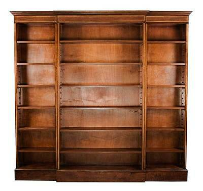 New Antique Style Breakfront Open Mahogany Bookcase Bookshelf Office or Library
