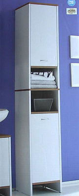 badezimmerschrank badschrank bad hochschrank weiss kernnussbaum 180 cm hoch eur 49 00. Black Bedroom Furniture Sets. Home Design Ideas