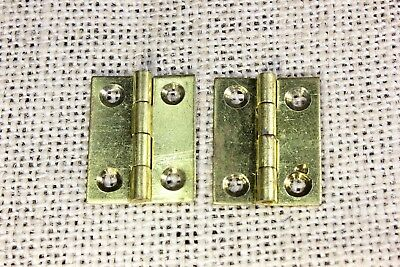 "2 small door Butt hinges solid brass 1 1/8 x 7/8"" jewelry box vintage old stock"