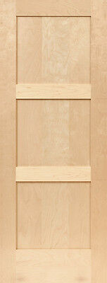 Birch 3 Panel Equal Flat Mission Shaker Stain Grade Solid Core Interior Doors