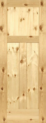 3 Panel Flat Shaker Knotty Pine Stain Grade Solid Core Interior Wood Door Doors