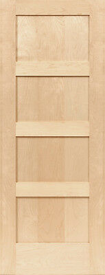 Birch 4 Panel Equal Flat Mission Shaker Stain Grade Solid Core Interior Doors