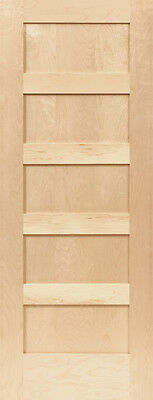 Birch 5 Panel Equal Flat Mission Shaker Stain Grade Solid Core Interior Doors