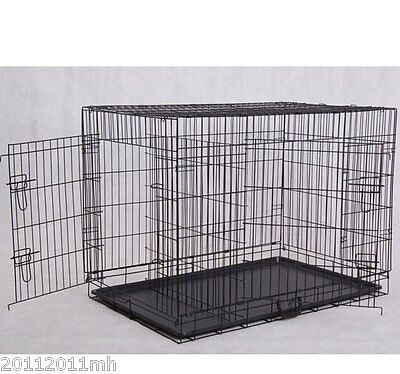 PawHut Wire Metal Pet Cage w/ Divider Folding Cat Dog Kennel Crate PlayPen