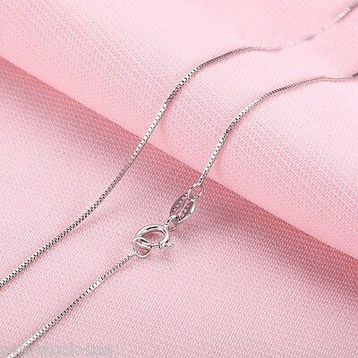Solid 18INCH 18K White Gold Necklace Box Link Chain /0.98g Stamp: Au750