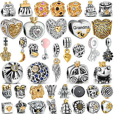 Hot Plated Gold European Bead Silver Charms Fit Authentic 925 Sterling Bracelets