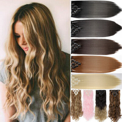 Premium Long Clip in Hair Extensions Extentions Full Head 8 pieces 18 Clips AF1