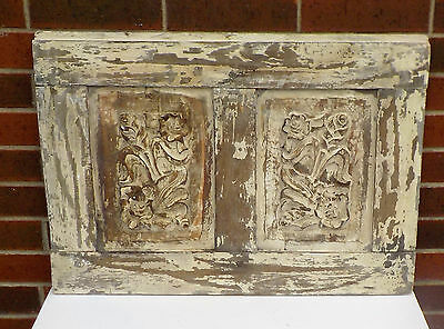 SPANISH COLONIAL ANTIQUE WOODEN DOOR PANEL ENGRAVED OLD MEXICO 29 1/4 x 20 5/8 r