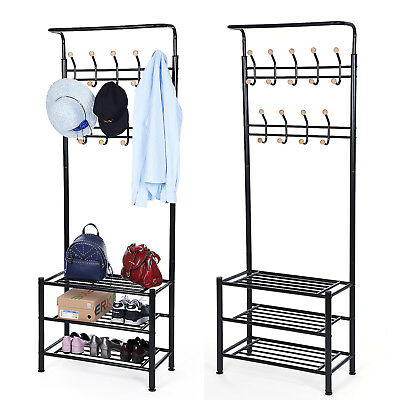 Hall Tree Entryway Organizer Multi-purpose Clothes Coat Stand Shoes Rack HSR04B