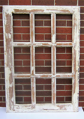 SPANISH COLONIAL ANTIQUE WOODEN 9 PANE WINDOW SASH OLD MEXICO 47 3/4 X 33 3/8 k