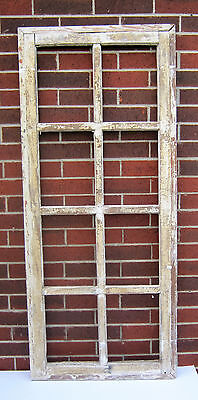 SPANISH COLONIAL ANTIQUE WOODEN 8 PANE WINDOW SASH OLD MEXICO 60 1/2 X 35 5/8 i