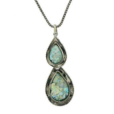 "Roman Glass Pendant Necklace with 16"" Sterling Silver Oxidized Chain Teardrop"