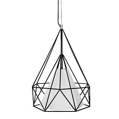 Modern Black Metal Wire Cage / Basket Style Ceiling Pendant Light Fitting NEW