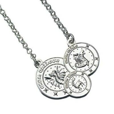 Harry Potter Silver Plated Gringotts Coin Necklace Triple Silver Coin Design
