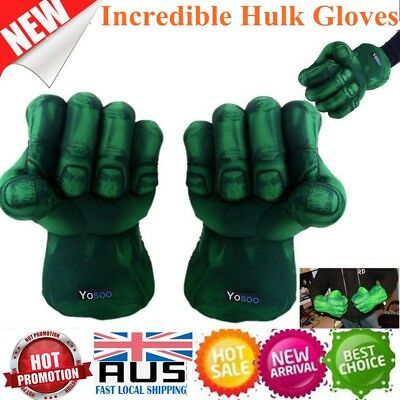 Incredible 2 Pcs Hulk Gloves Smash Hands Plush Punching Boxing Fists Cosplay Set