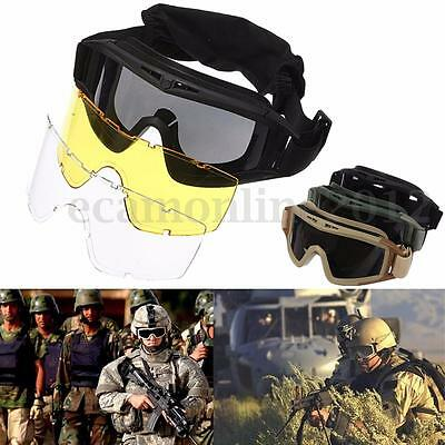 3 Lens Anti Fog UV Tactical Military CS Airsoft Safety Goggles Eyes Glasses Mask