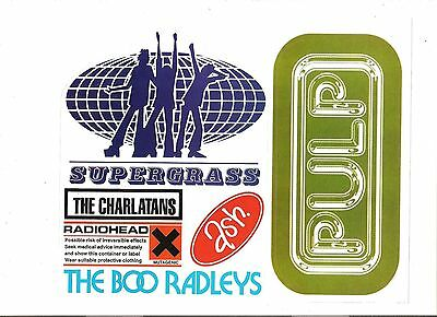 PULP SUPERGRASS CHARLATANS unused sheet of stickers 10x8