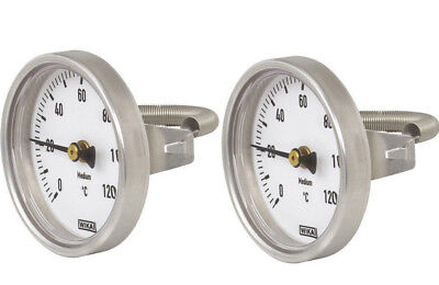 2x Wika Bimetall Anlegethermometer Ø 63mm > 120°C Feder Rohrthermometer Heizung
