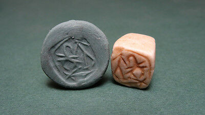 Ancient Bead Astrology Sign Scorpion & Standing Figure Phoenician 1200-800 Bc