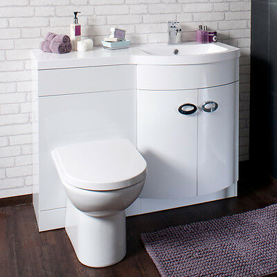Bathroom Cabinet Back To Wall Toilet Basin Sink Suite Combi Vanity Unit EMP20003