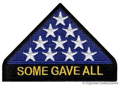 IN MEMORIAM PATCH SOME GAVE ALL iron-on embroidered AMERICAN FLAG VETERAN KIA