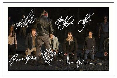 Negan And Group The Walking Dead Season 6 Cast Mult Signed Auograph Photo Print