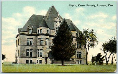 "Lawrence, Kansas Postcard ""Physics, Kansas University"" Building View 1910 Cancel"