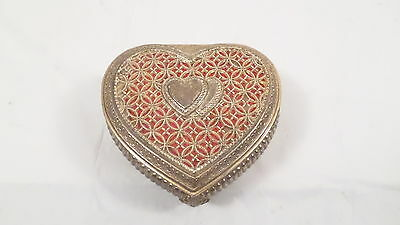 Vintage Heart Shaped Metal Hinged Velvet Lined Trinket Box Jewelry Box