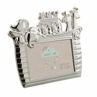 "Noah's Ark Silver Plated Baby Photo Frame 3.5x2.5"" New Boxed CG692"