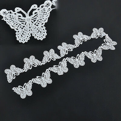 White Butterfly Lace Vintage Edge Trim Ribbon Applique Wedding Sewing Crafts 1M