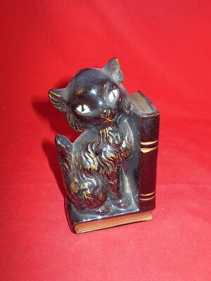 1J Vintage Kitty Cat On Books Glazed Ceramic Figurine Made In Japan CUTE!