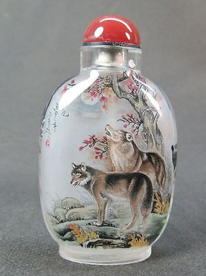 Chinese Four Wolf Inside Hand Painted Glass Snuff Bottle:Gift Box
