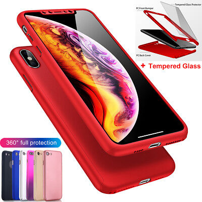 iPhone X 8 7 6s Plus 5s 360° Full Body Shockproof Hard Case Cover Tempered Glass