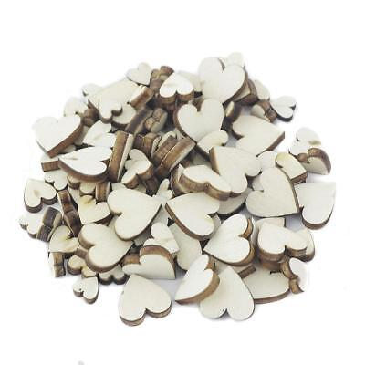 100 Mixed Size Heart Shaped Wooden Crafting Scrapbook Vintage Wedding Decor