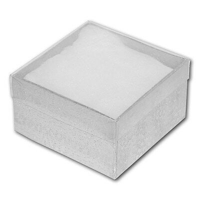 LOT OF 6 SILVER clear top COTTON FILLED BOX JEWELRY BOX PARTY BOX LARGE 3 3/4x2""